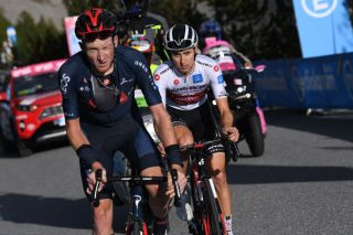 LAGHI DI CANCANO ITALY OCTOBER 22 Tao Geoghegan Hart of The United Kingdom and Team INEOS Grenadiers Jai Hindley of Australia and Team Sunweb White Best Young Rider Jersey Torri di Fraele 1938m during the 103rd Giro dItalia 2020 Stage 18 a 207km stage from Pinzolo to Laghi di Cancano Parco Nazionale dello Stelvio 1945m girodiitalia Giro on October 22 2020 in Laghi di Cancano Italy Photo by Tim de WaeleGetty Images