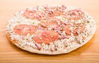 A frozen pizza