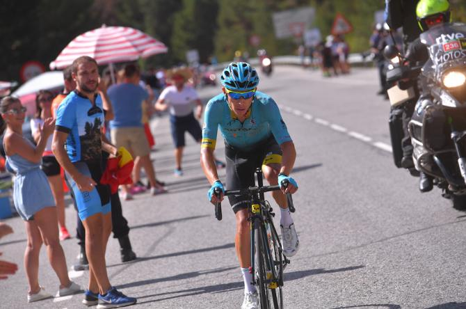 Miguel Angel Lopez en route to victory on stage 15 of the Vuelta a España