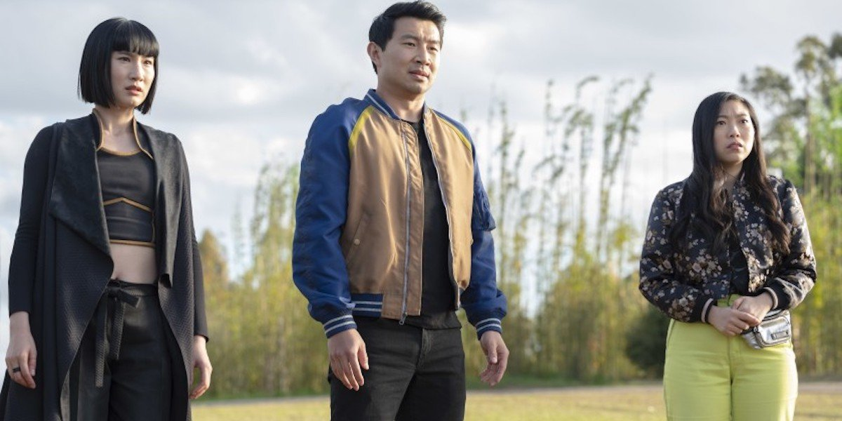 Meng'er Zhang, Simu Liu and Awkwafina in Shang-Chi