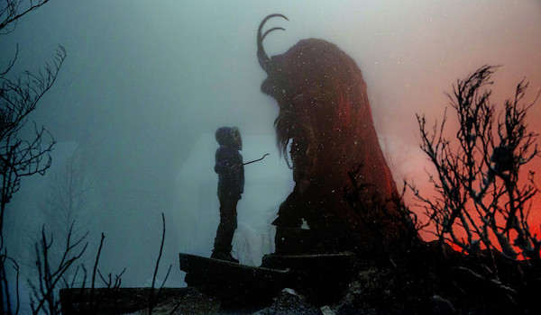 Krampus movie girl in front of monster