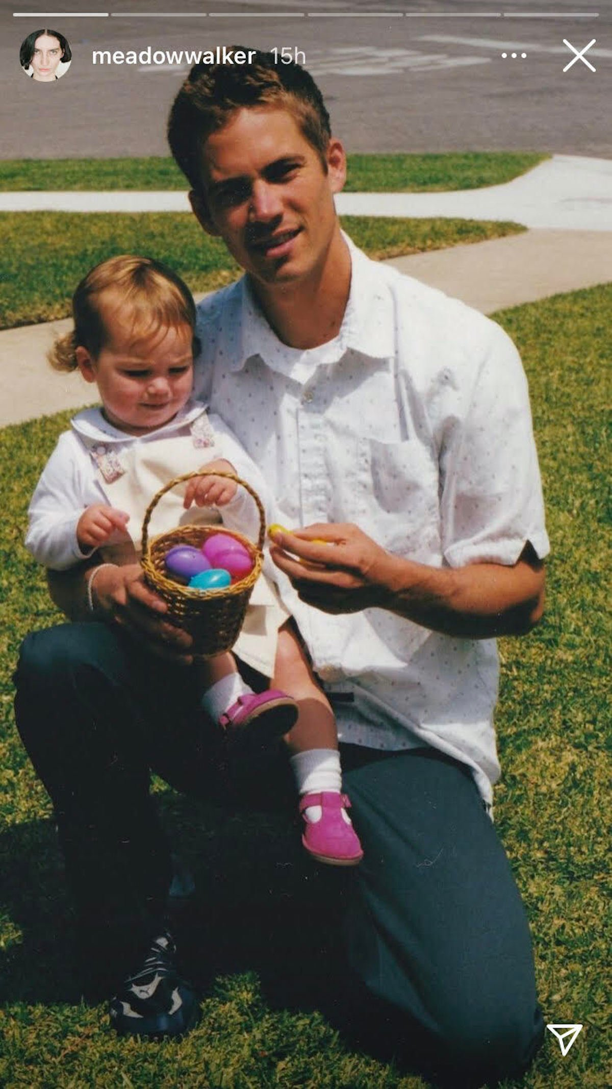Paul Walker holding a young Medow Walker on Easter