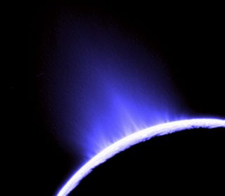 water geysers spouting from Saturn's moon Enceladus