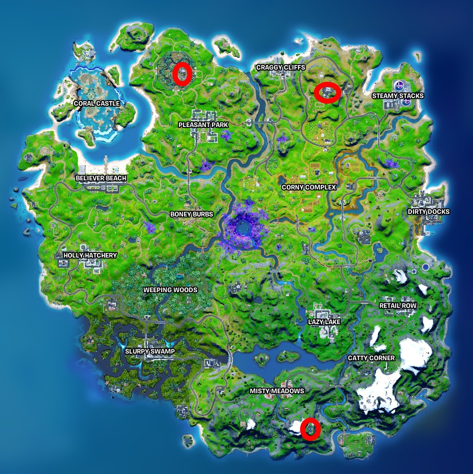 A map of Fortnite and where to repair io equipment
