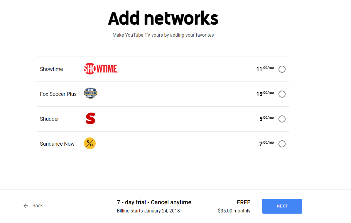 youtube tv add ons