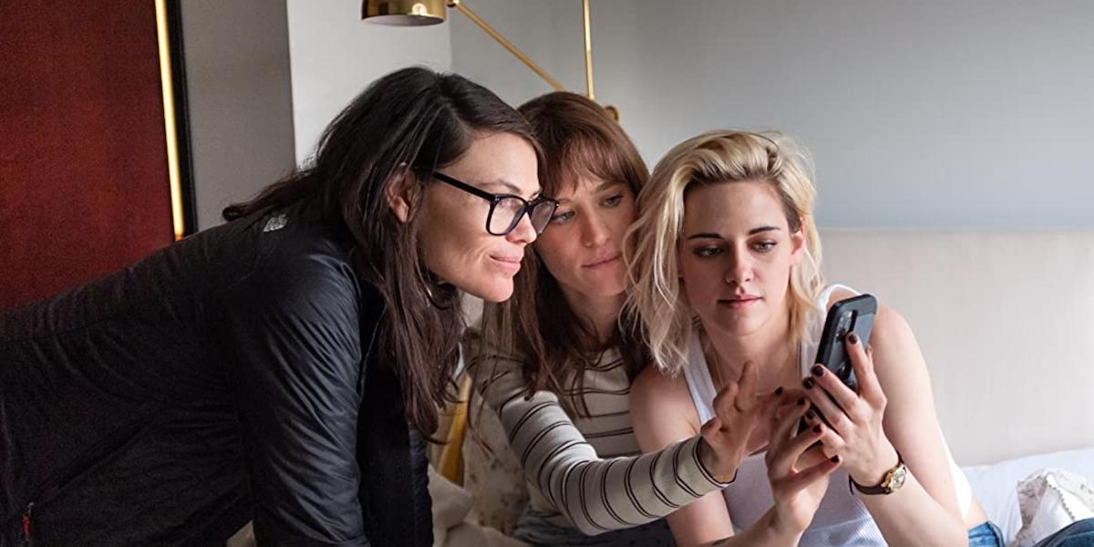 Clea Duvall with Happiest Season's Mackenzie Davis and Kristen Stewart