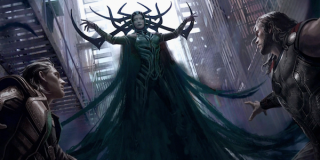 Thor Ragnarok concept art Hela in front of Thor and Loki