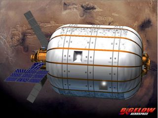 An artist's illustration of a Bigelow Aerospace BA 330 inflatable module with Mars in the background. The BA 330 module is expected to be designed to form part of a multi-module space station, or serve as an independent orbiting outpost.