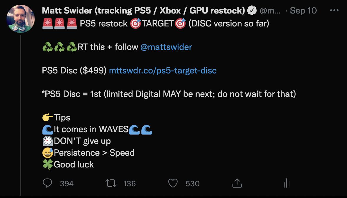 PS5 restock Target Twitter alert from Matt Swider