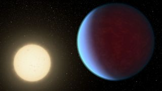 An artist's depiction of the primary star Cancri 55 and one of its planets, the massive Cancri 55 e.