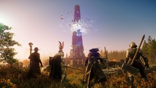 Four New World characters stand in front of a glowing obelisk