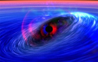 Matter Rides Black Hole's Space-Time Wave