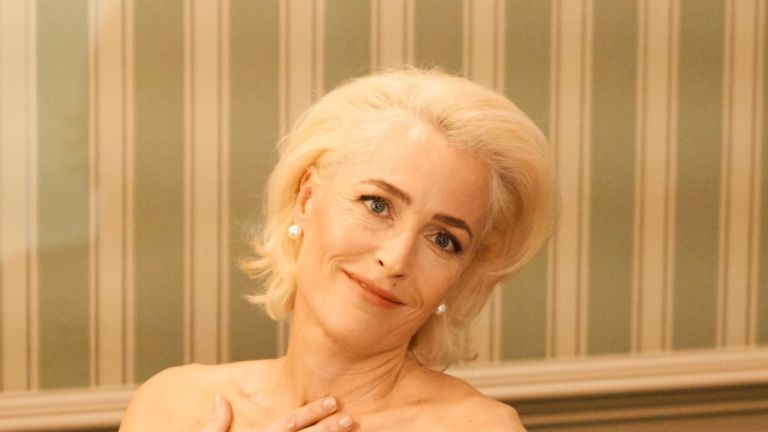 Gillian Anderson's artistic Sex Education poster of pregnant Jean has fans going wild