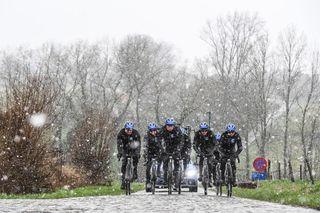 Riders train before Omloop Het Nieuwsblad 2020 in wet snow