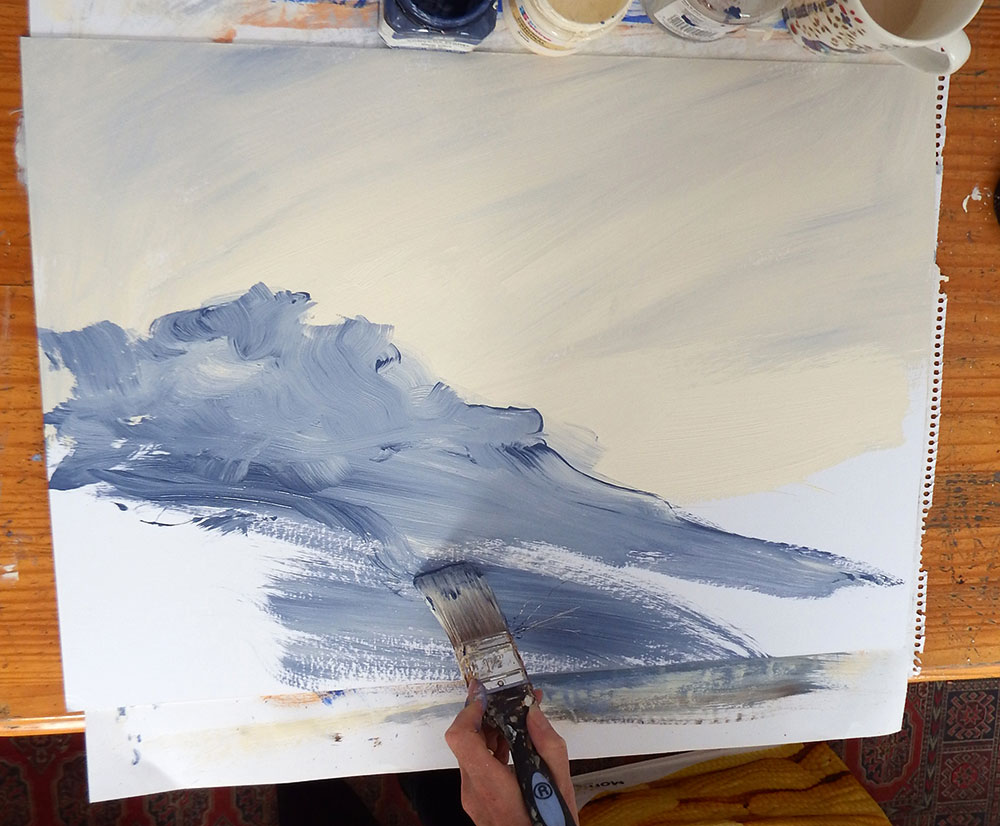 Roughly painting a blue mound