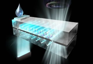 a drop of water is placed into a chamber on the far end of the chip, which contains wave-shaped structures inside, and cartoon proteins. At the near end, light radiates outward, to be collected by a microscope.