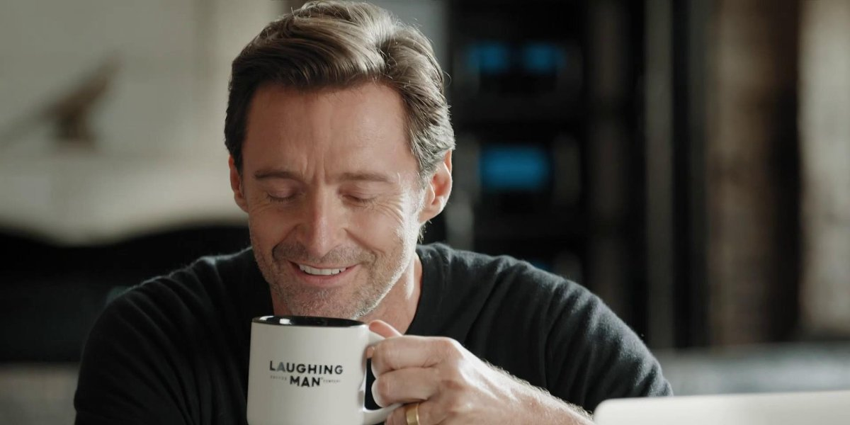 Hugh Jackman in the Laughing Man Coffee ad