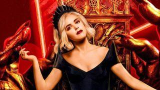 Sabrina (Kiernan Shipka) sits on her throne in hell