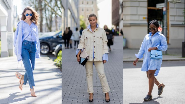 street style models showing how to wear oversized shirts