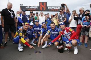 Deceuninck-QuickStep celebrate winning Velon's Hammer Series race in Limburg