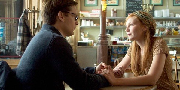Tobey Maguire and Kirsten Dunst as Peter Parker and Mary Jane Watson in Spider-Man 2 coffee shop