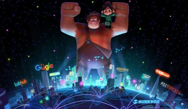 Ralph Breaks The Internet: Wreck-it Ralph 2 Ralph and Vanelope tower over the internet