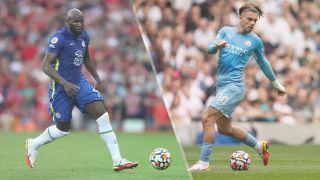 Romelu Lukaku of Chelsea and Jack Grealish of Manchester City