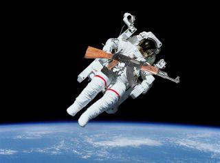 Astronaut with AK-47 During Spacewalk