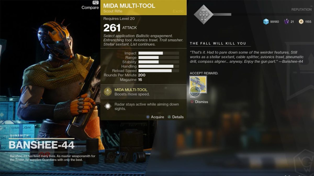 How to get the Mida Multi-Tool Exotic Scout Rifle in Destiny 2