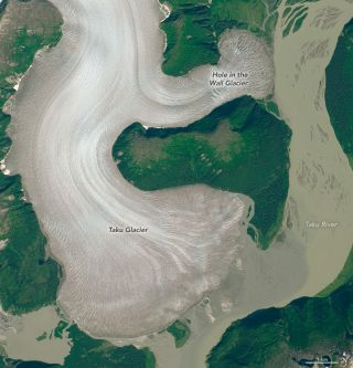 Satellite images of Taku glacier in Alaska.