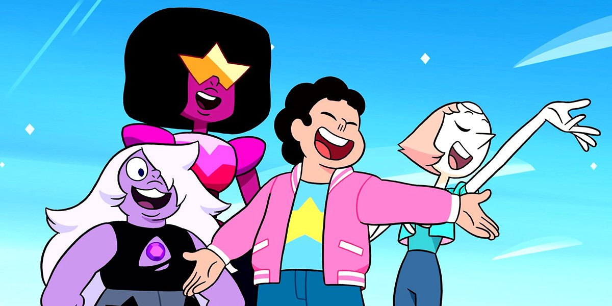 Steven and the Crystal Gems in Steven Universe.