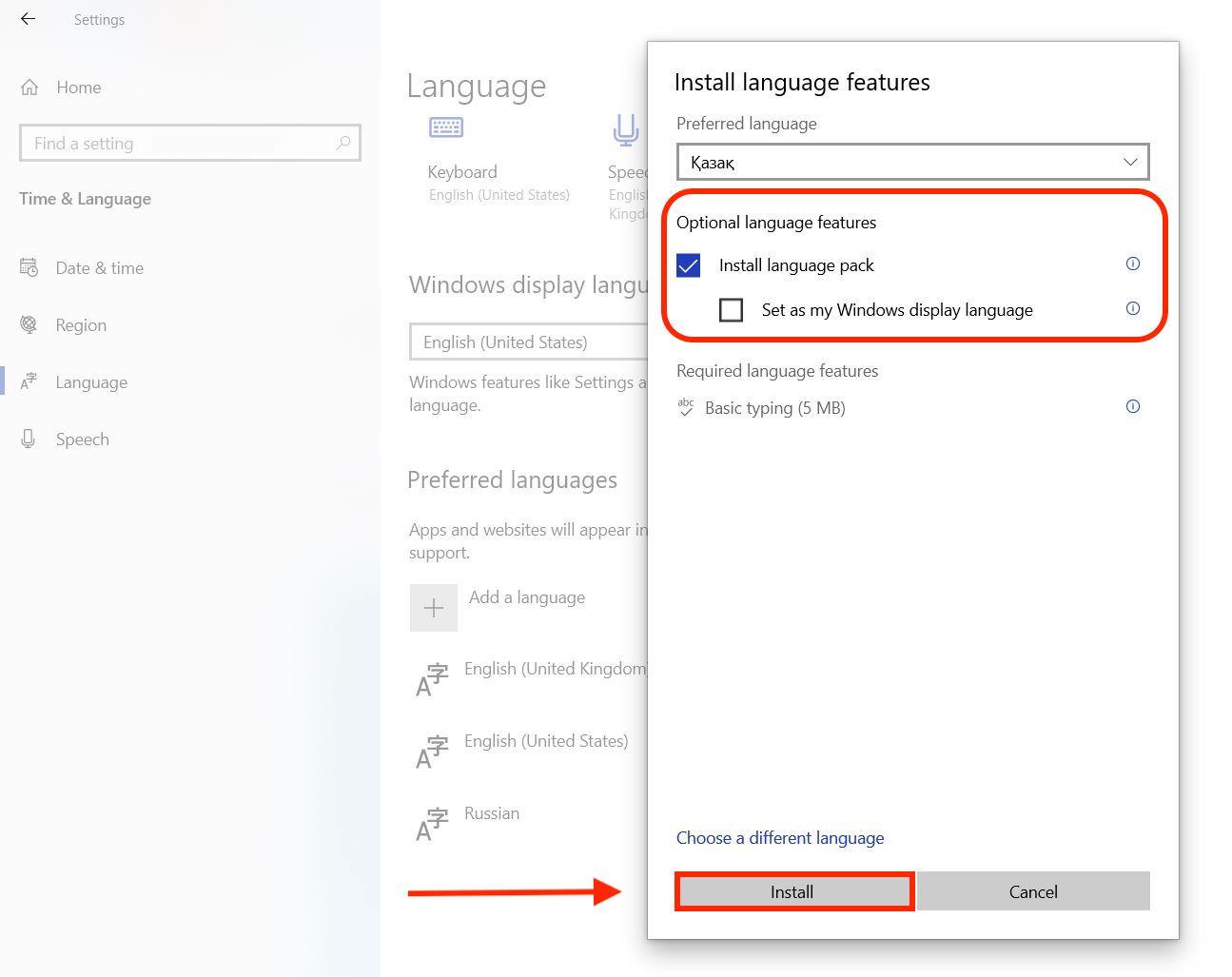How to change keyboard language in Windows - install language pack