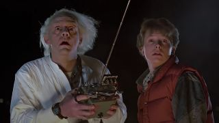 Christopher Lloyd as Doc Brown and Michael J. Fox as Marty McFly in Back to the Future