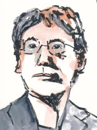 Watercolor portrait illustration of Kazuo Ishiguro.