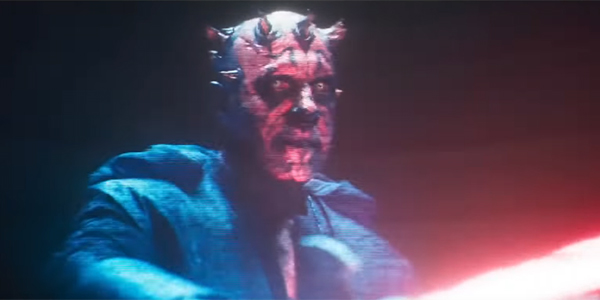 Darth Maul showing off his lightsaber in Solo: A Star Wars Story