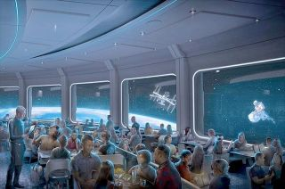 Artist's concept of Space 220, a new restaurant at Walt Disney World Resort's EPCOT in Florida, which will offer guests amazing meals and a spectacular view 220 miles above Earth.