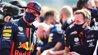 Max Verstappen, left, of Red Bull Racing won the 70th Anniversary Grand Prix at Silverstone on Aug. 9.