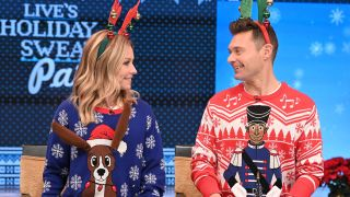 """Kelly Ripa and Ryan Seacrest host syndication's 'Live' and its annual """"Home for the Holidays"""" episode."""