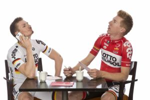 Andre Greipel and Marcel Sieberg takes part in a training camp by the Lotto-Belisol team in 2013