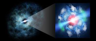 An artist's depiction of the quasar MG J0414+0534.