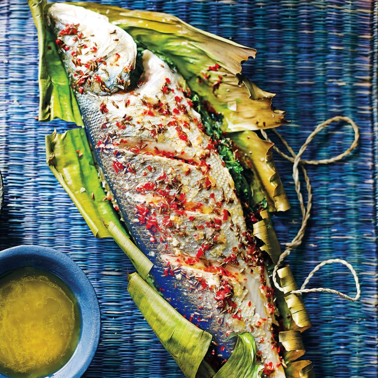seabass with coriander and chilli photo