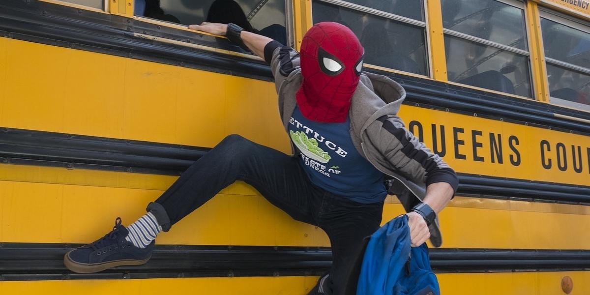 Spider-Man exits a bus