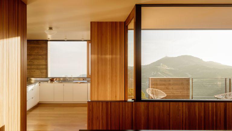 Wooden living room in Saddle Peak House, Santa Monica