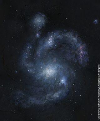 Artist's rendering of the 10.7-billion-year-old spiral galaxy BX442