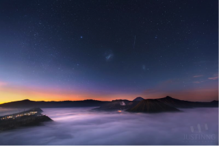 Magellanic Clouds at Sunrise Over Mount Bromo