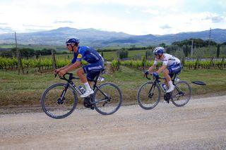 Giro d'Italia 2021 - 104th Edition - 11th stage Perugia - Montalcino 162 km - 19/05/2021 - Sterrato - Joao Almeida (POR - Deceuninck - Quick-Step) - Remco Evenepoel (BEL - Deceuninck - Quick-Step) - photo Ilario Biondi/BettiniPhoto©2021