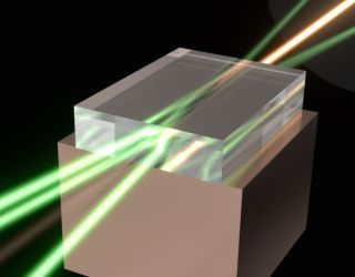 """The """"super"""" laser brings together the power of multiple laser beams directed into a single intense output using an ultra-pure diamond crystal at the point of convergence."""