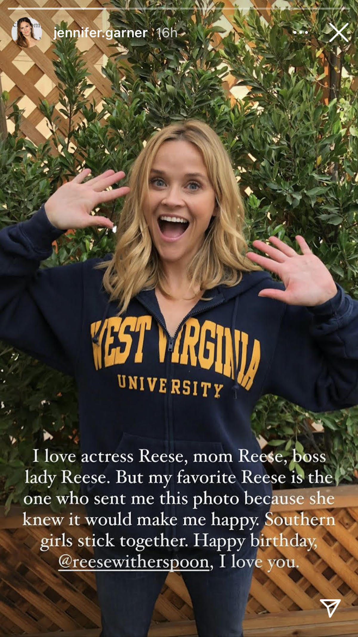 Jennifer Garner's post to Reese Witherspoon