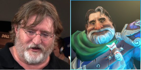 Dota 2 Gabe Newell and real Gabe Newell, compared