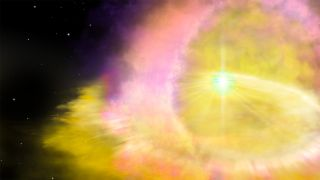 An artist's illustration of a brilliant supernova, the explosive death of a star.